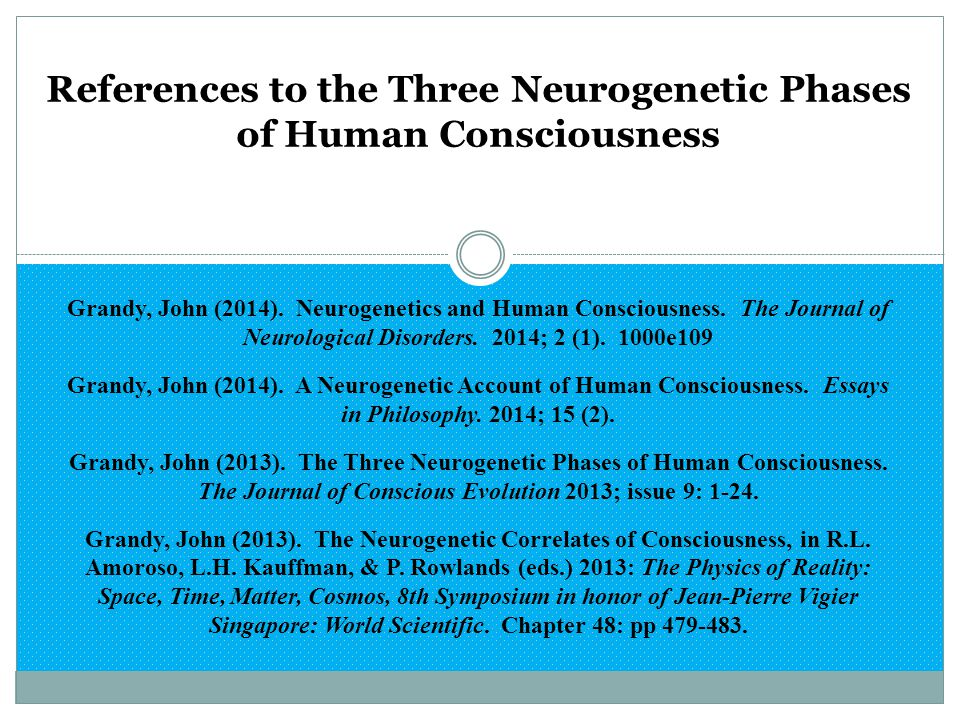 References to the Three Neurogenetic Phases of Human Consciousness Grandy, John (2014). Neurogenetics and Human Consciousness. The Journal of Neurolog