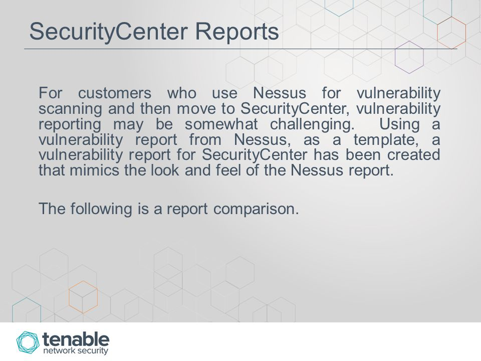 Report Comparison - Splash Page The Nessus report begins with a simple splash page that contains the report name, along with the date and time.