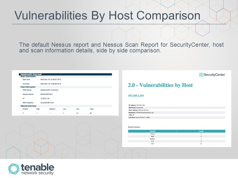 Vulnerability Details For both reports, this information is followed with detailed scan information in the form of Vulnerability Details.