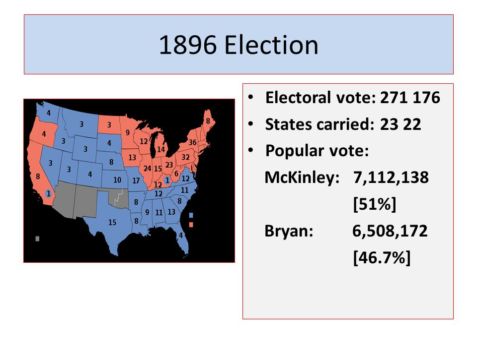 1896 Election Electoral vote: 271 176 States carried: 23 22 Popular vote: McKinley: 7,112,138 [51%] Bryan: 6,508,172 [46.7%]