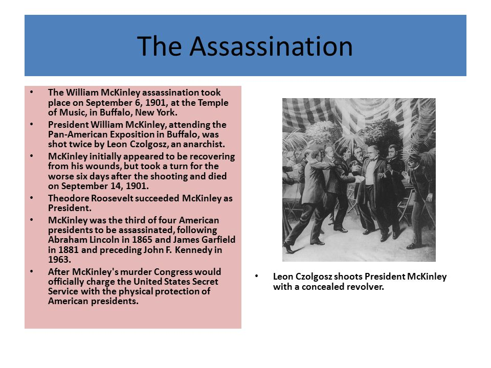 The Assassination The William McKinley assassination took place on September 6, 1901, at the Temple of Music, in Buffalo, New York.