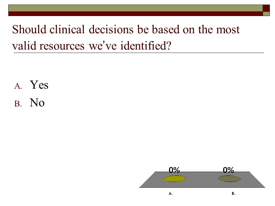 Should clinical decisions be based on the most valid resources we've identified A. Yes B. No