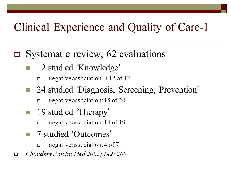 Clinical Experience and Quality of Care-1  Systematic review, 62 evaluations 12 studied 'Knowledge'  negative association in 12 of 12 24 studied 'Diagnosis, Screening, Prevention'  negative association: 15 of 24 19 studied 'Therapy'  negative association: 14 of 19 7 studied 'Outcomes'  negative association: 4 of 7  Choudhry Ann Int Med 2005; 142: 260