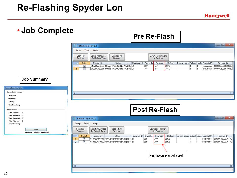 19 Re-Flashing Spyder Lon Job Complete Firmware updated Post Re-Flash Pre Re-Flash Job Summary