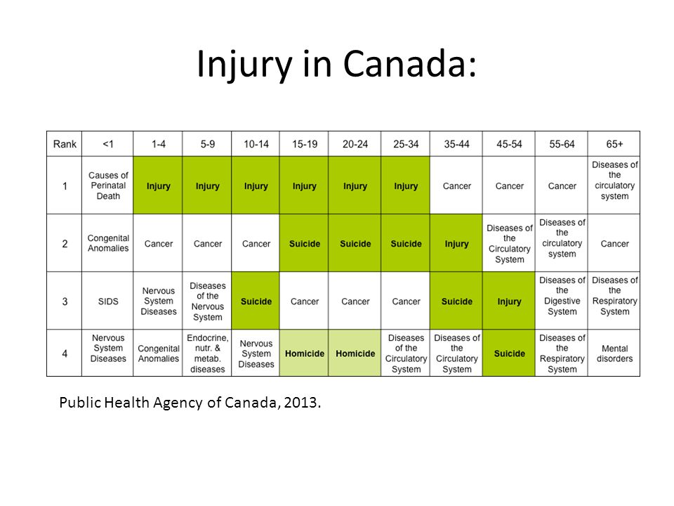 Injury at a local level: Injuries are tracked through a number of provincial and national database in terms of: –Emergency room visits due to injury –Hospital admissions due to injury –Fatalities due to injury For this presentation, the data comes from the Ministry of Health and Long Term Care's IntelliHEALTH database