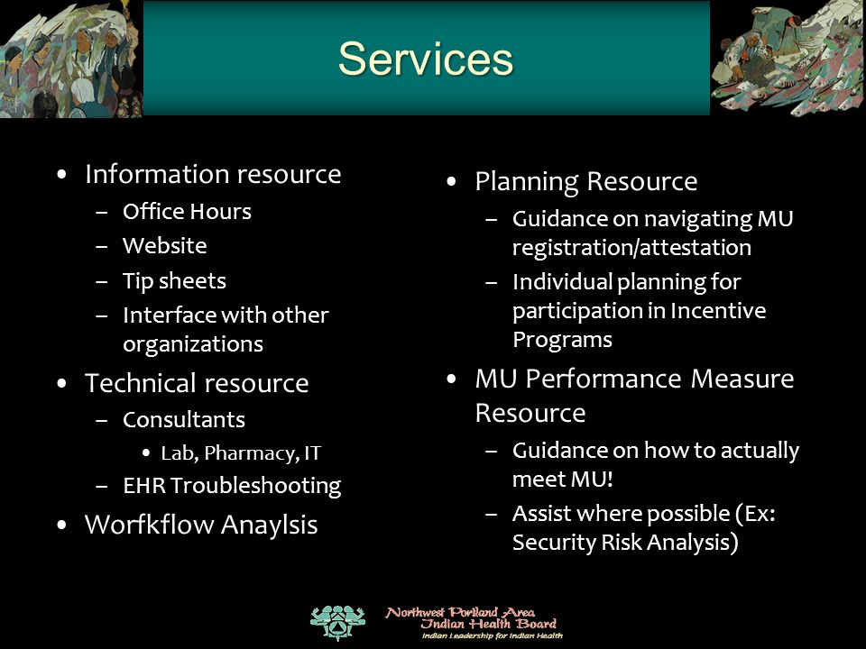 Services Information resource – Office Hours – Website – Tip sheets – Interface with other organizations Technical resource – Consultants Lab, Pharmac