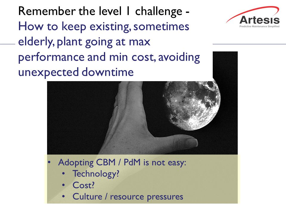 The level 2 challenge: getting to Predictive Adopting CBM / PdM is not easy: Technology.