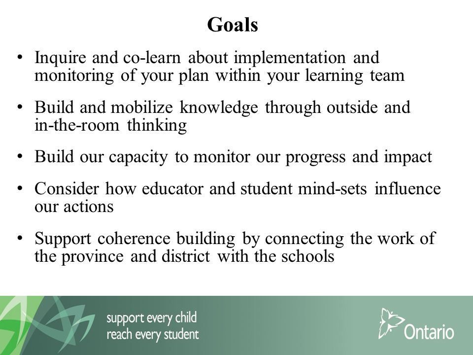 Goals Inquire and co-learn about implementation and monitoring of your plan within your learning team Build and mobilize knowledge through outside and in-the-room thinking Build our capacity to monitor our progress and impact Consider how educator and student mind-sets influence our actions Support coherence building by connecting the work of the province and district with the schools