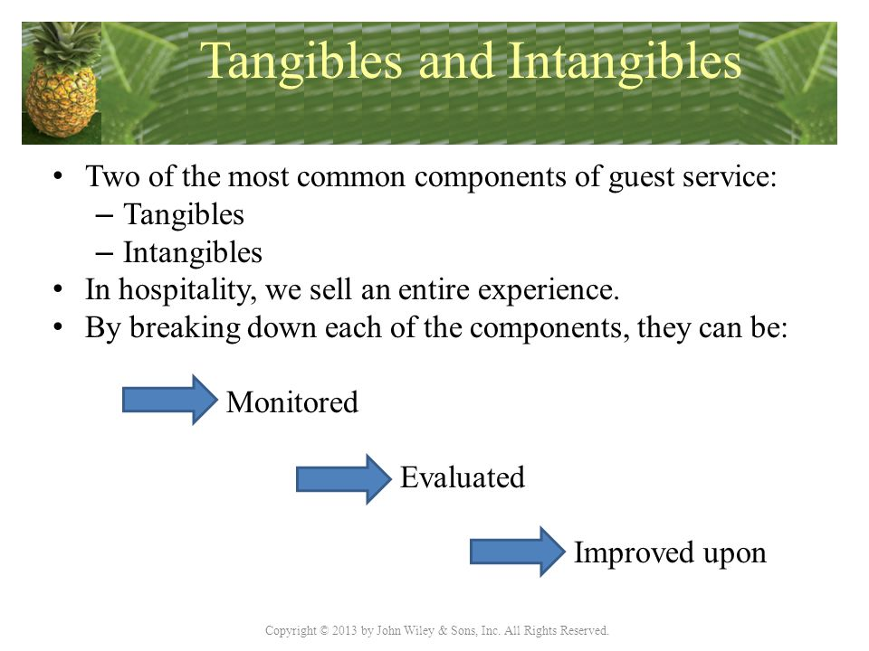 Copyright © 2013 by John Wiley & Sons, Inc. All Rights Reserved. Tangibles and Intangibles Two of the most common components of guest service: – Tangi