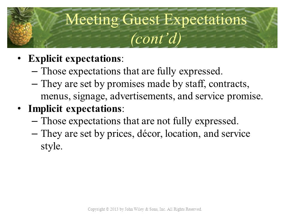 Copyright © 2013 by John Wiley & Sons, Inc. All Rights Reserved. Meeting Guest Expectations (cont'd) Explicit expectations: – Those expectations that