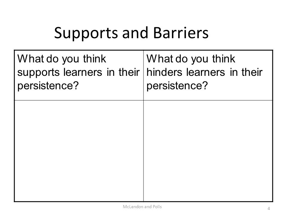 McLendon and Polis 4 Supports and Barriers What do you think supports learners in their persistence? What do you think hinders learners in their persi