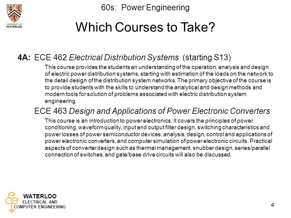 WATERLOO ELECTRICAL AND COMPUTER ENGINEERING 60s: Power Engineering 4 Which Courses to Take.