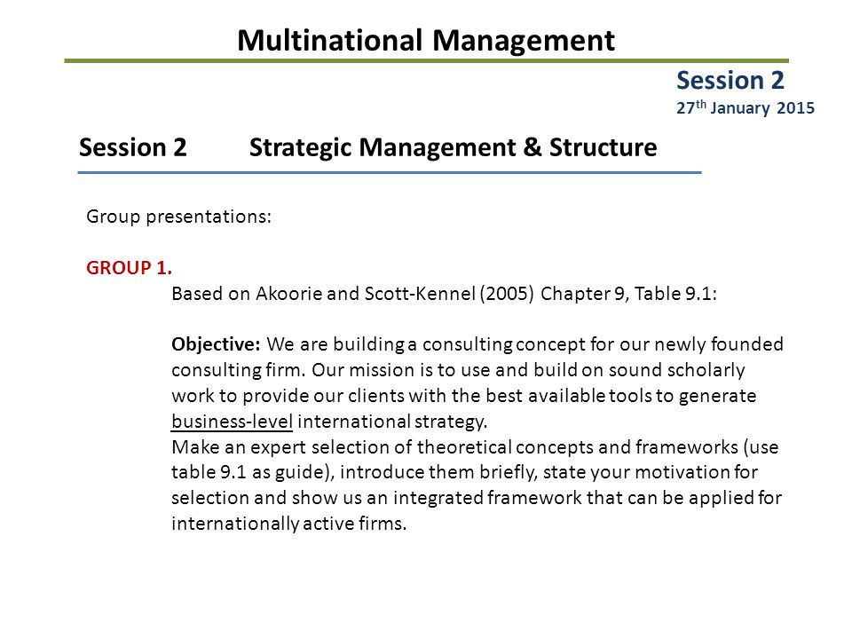 Multinational Management Session 2Strategic Management & Structure Group presentations: GROUP 1.