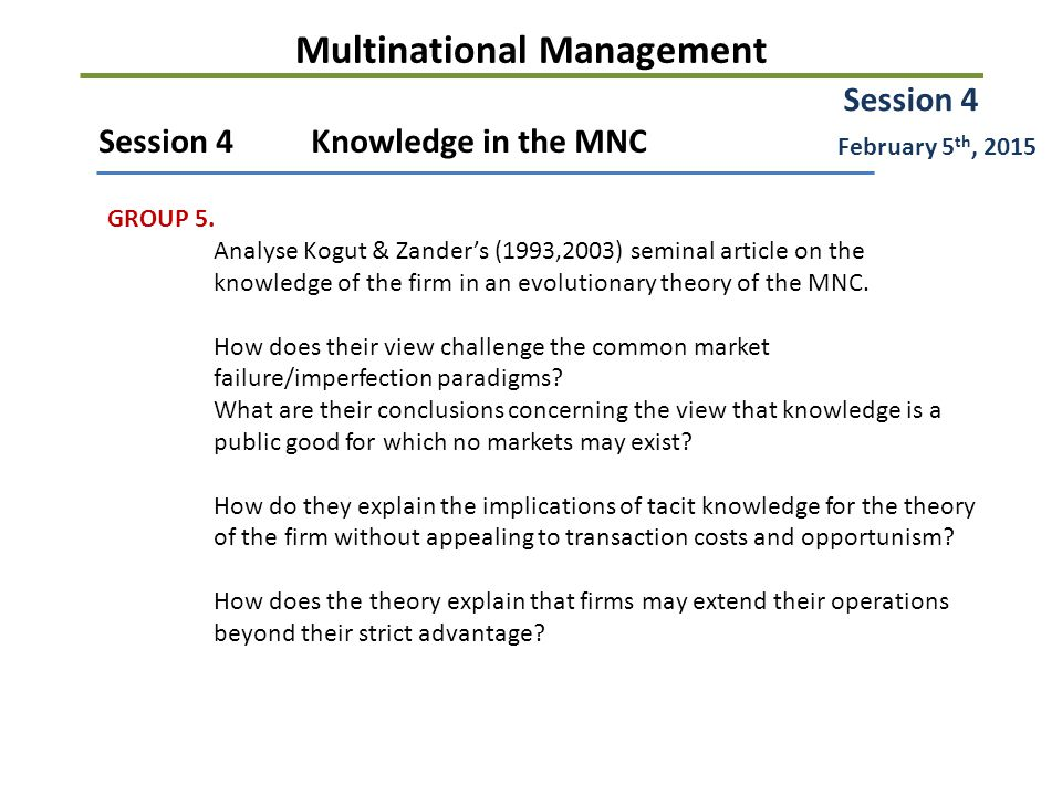 Multinational Management Session 4Knowledge in the MNC GROUP 5.