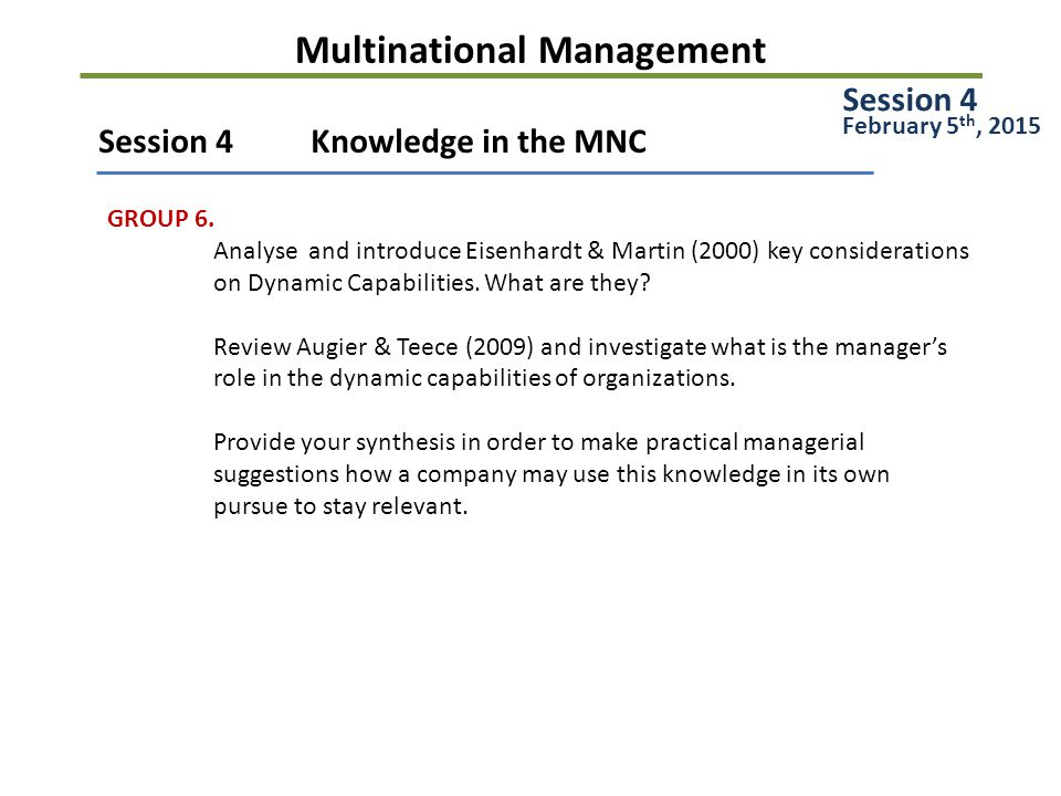 Multinational Management Session 5Managing MNCs and Subsidiary Roles GROUP 7.