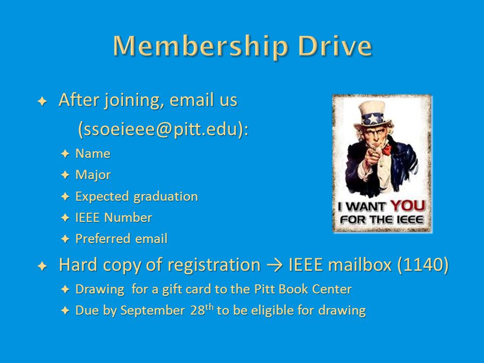  After joining, email us (ssoeieee@pitt.edu):  Name  Major  Expected graduation  IEEE Number  Preferred email  Hard copy of registration → IEEE mailbox (1140)  Drawing for a gift card to the Pitt Book Center  Due by September 28 th to be eligible for drawing