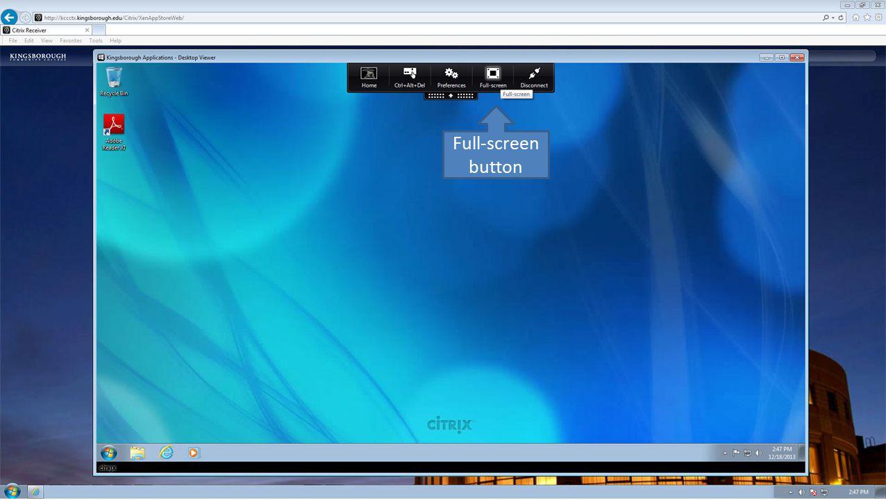 Full-screen button