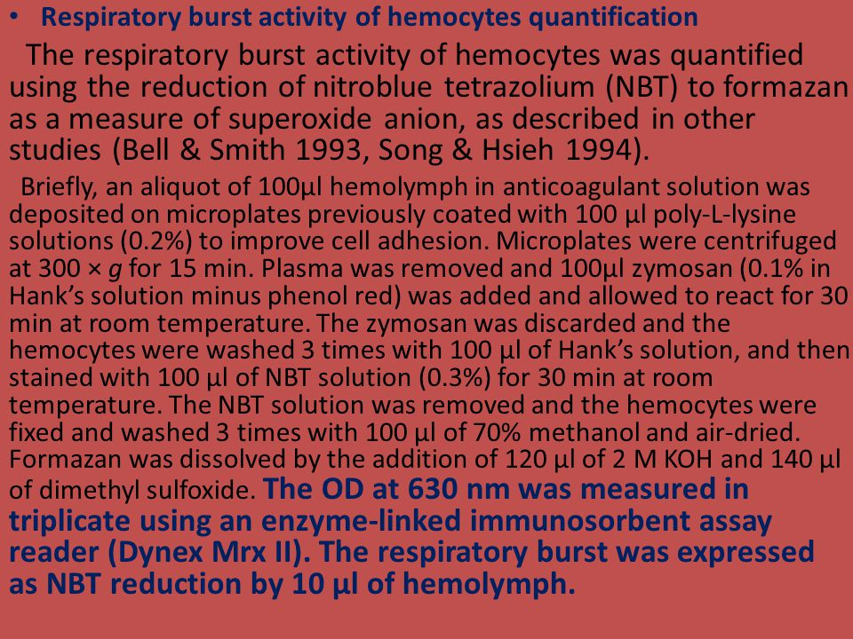 Respiratory burst activity of hemocytes quantification The respiratory burst activity of hemocytes was quantified using the reduction of nitroblue tetrazolium (NBT) to formazan as a measure of superoxide anion, as described in other studies (Bell & Smith 1993, Song & Hsieh 1994).