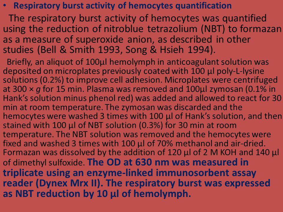 Respiratory burst activity of hemocytes quantification The respiratory burst activity of hemocytes was quantified using the reduction of nitroblue tet