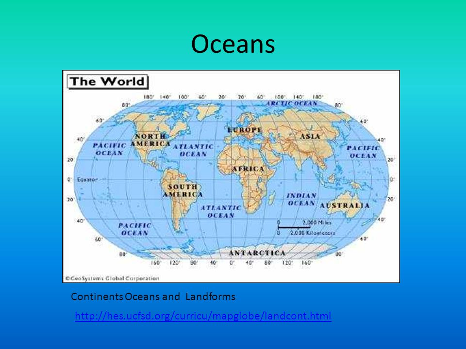 Oceans http://hes.ucfsd.org/curricu/mapglobe/landcont.html Continents Oceans and Landforms