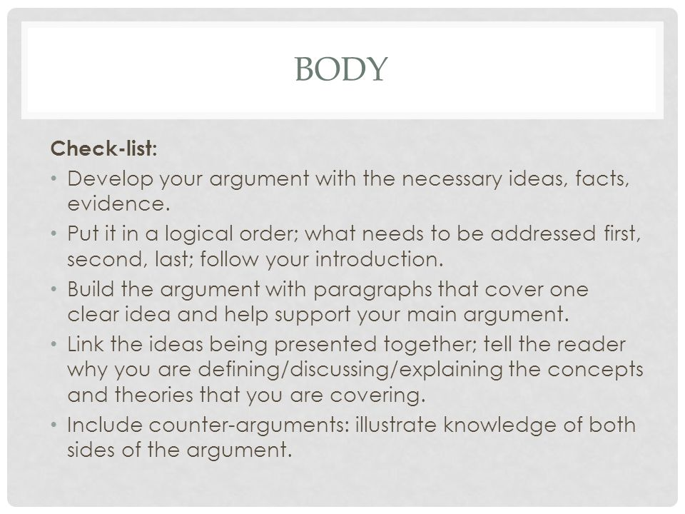 BODY Check-list: Develop your argument with the necessary ideas, facts, evidence.
