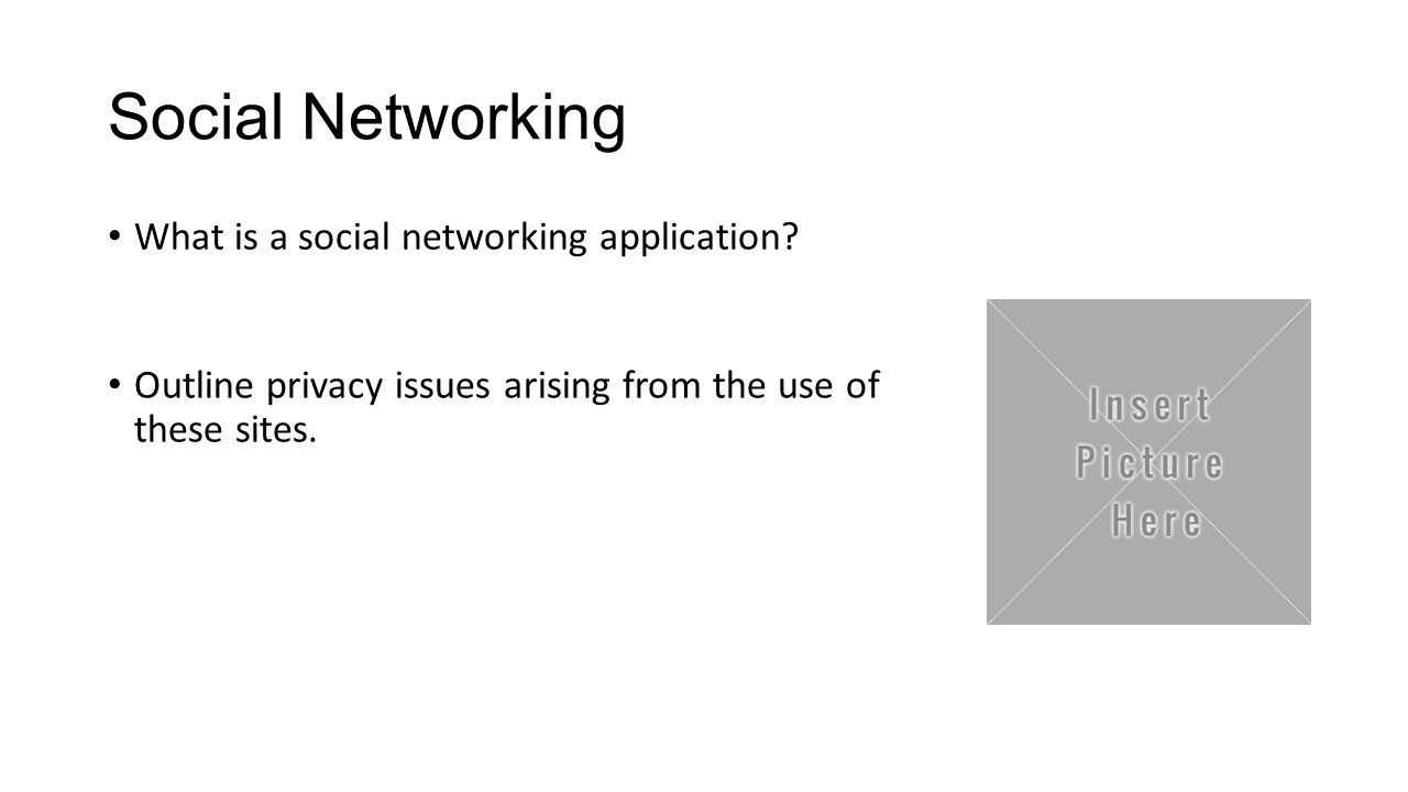 Social Networking What is a social networking application? Outline privacy issues arising from the use of these sites.