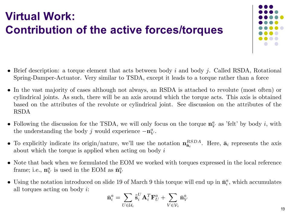 Virtual Work: Contribution of the active forces/torques 19