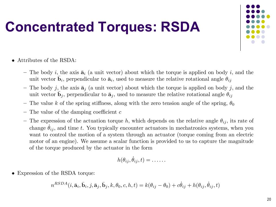 Concentrated Torques: RSDA 20