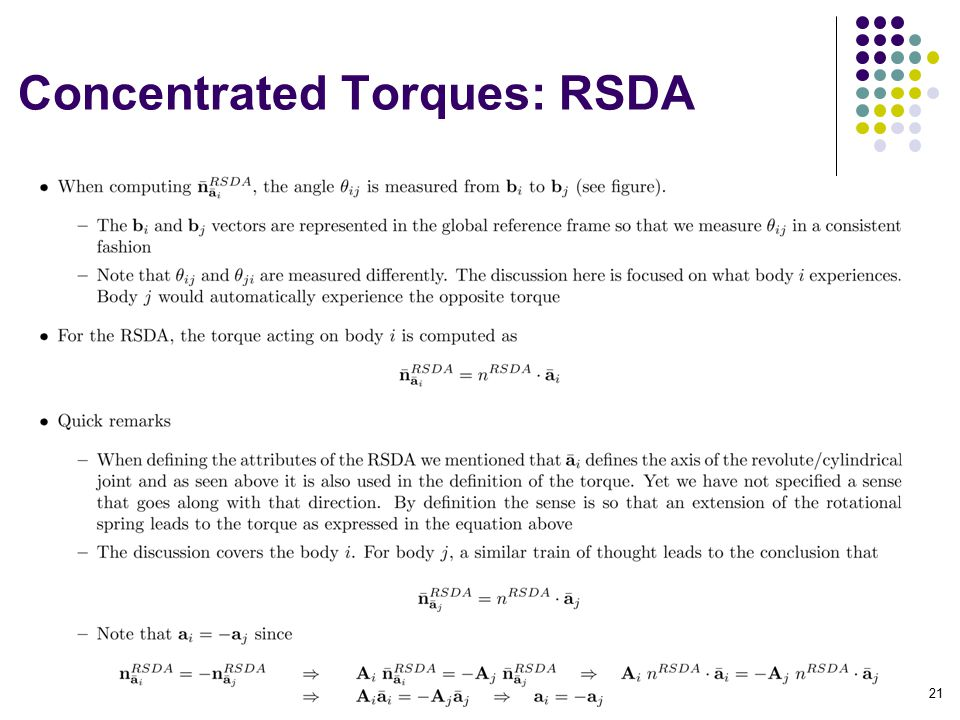 Concentrated Torques: RSDA 21