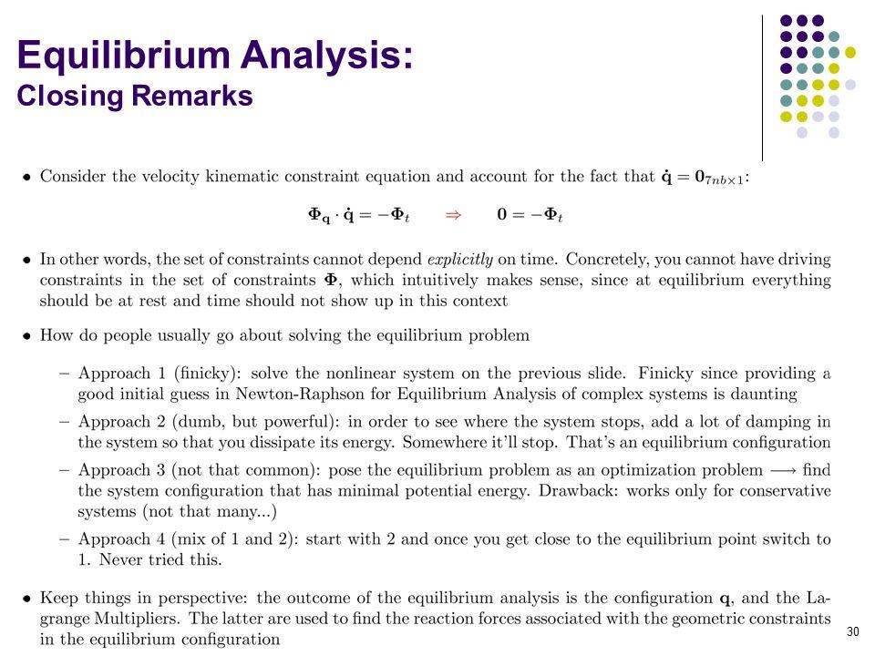Equilibrium Analysis: Closing Remarks 30