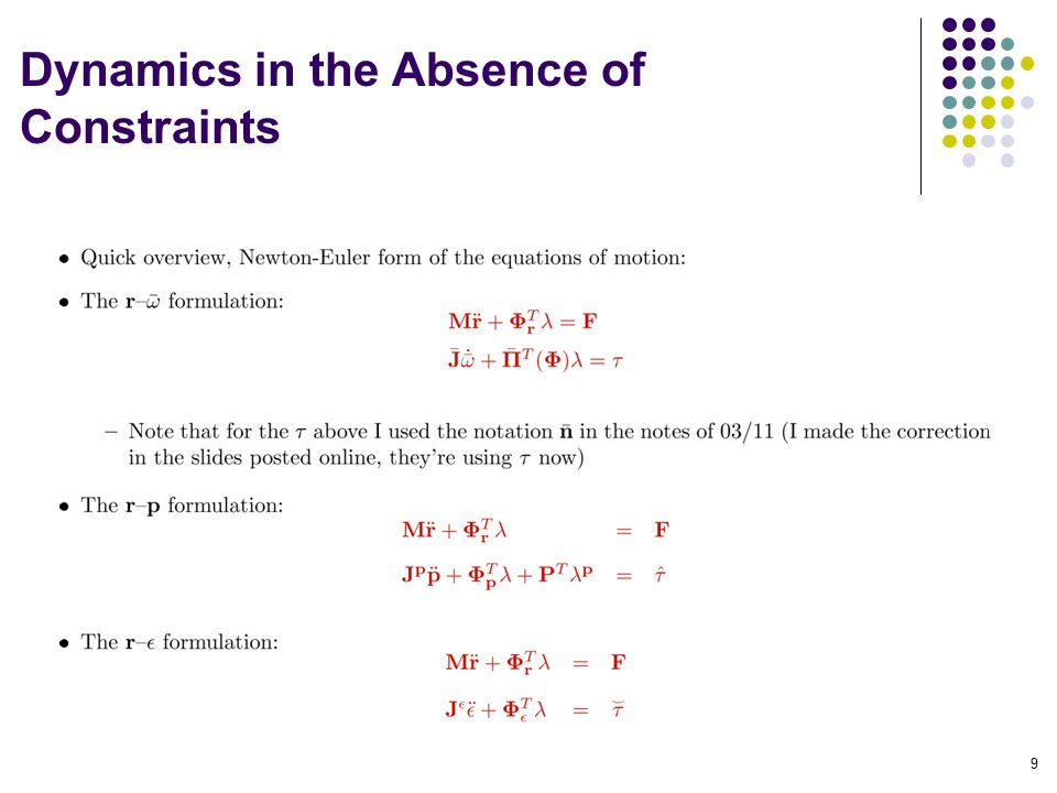 Dynamics in the Absence of Constraints 9