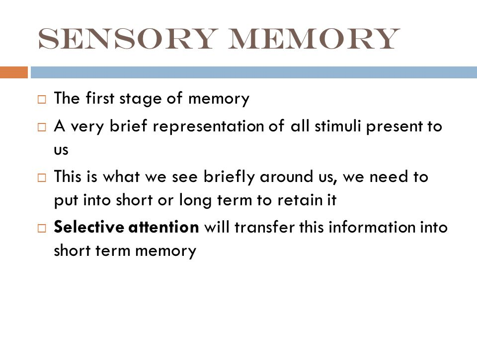 Sensory memory  The first stage of memory  A very brief representation of all stimuli present to us  This is what we see briefly around us, we need to put into short or long term to retain it  Selective attention will transfer this information into short term memory