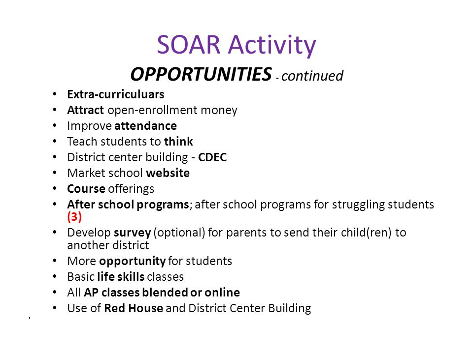 SOAR Activity OPPORTUNITIES - continued Extra-curriculuars Attract open-enrollment money Improve attendance Teach students to think District center building - CDEC Market school website Course offerings After school programs; after school programs for struggling students (3) Develop survey (optional) for parents to send their child(ren) to another district More opportunity for students Basic life skills classes All AP classes blended or online Use of Red House and District Center Building