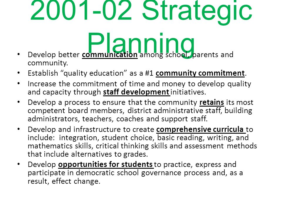 2001-02 Strategic Planning Develop better communication among school, parents and community.