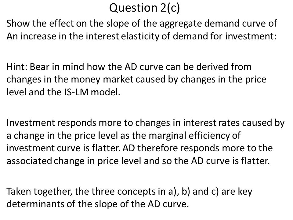 Question 2(c) Show the effect on the slope of the aggregate demand curve of An increase in the interest elasticity of demand for investment: Hint: Bear in mind how the AD curve can be derived from changes in the money market caused by changes in the price level and the IS-LM model.