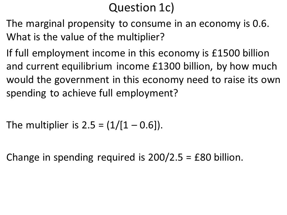 Question 1c) The marginal propensity to consume in an economy is 0.6.