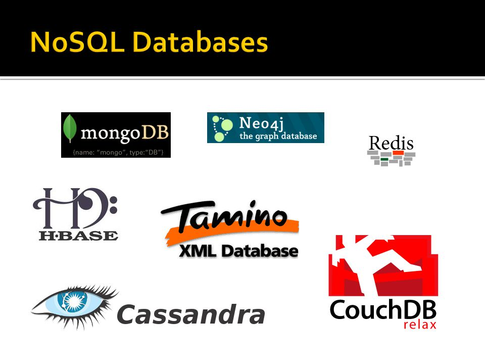  NoSQL databases come in a variety of flavors  XML (myXMLDB, Tamino, Sedna)  Wide Column (Cassandra, Hbase, Big Table)  Key/Value (Redis, Memcached with BerkleyDB)  Object (db4o, JADE)  Graph (neo4j, InfoGrid)  Document store (CouchDB, MongoDB)