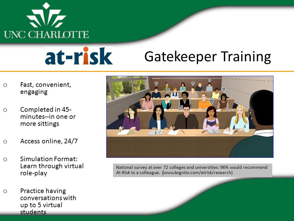 Gatekeeper Training o Fast, convenient, engaging o Completed in 45- minutes--in one or more sittings o Access online, 24/7 o Simulation Format: Learn through virtual role-play o Practice having conversations with up to 5 virtual students National survey at over 72 colleges and universities: 96% would recommend At-Risk to a colleague.