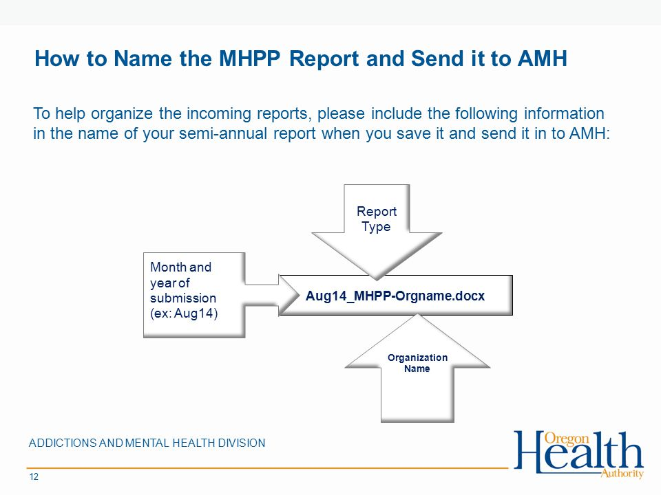 How to Name the MHPP Report and Send it to AMH ADDICTIONS AND MENTAL HEALTH DIVISION 12 To help organize the incoming reports, please include the foll