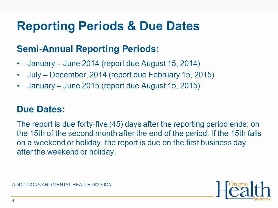 Reporting Periods & Due Dates Semi-Annual Reporting Periods: January – June 2014 (report due August 15, 2014) July – December, 2014 (report due Februa