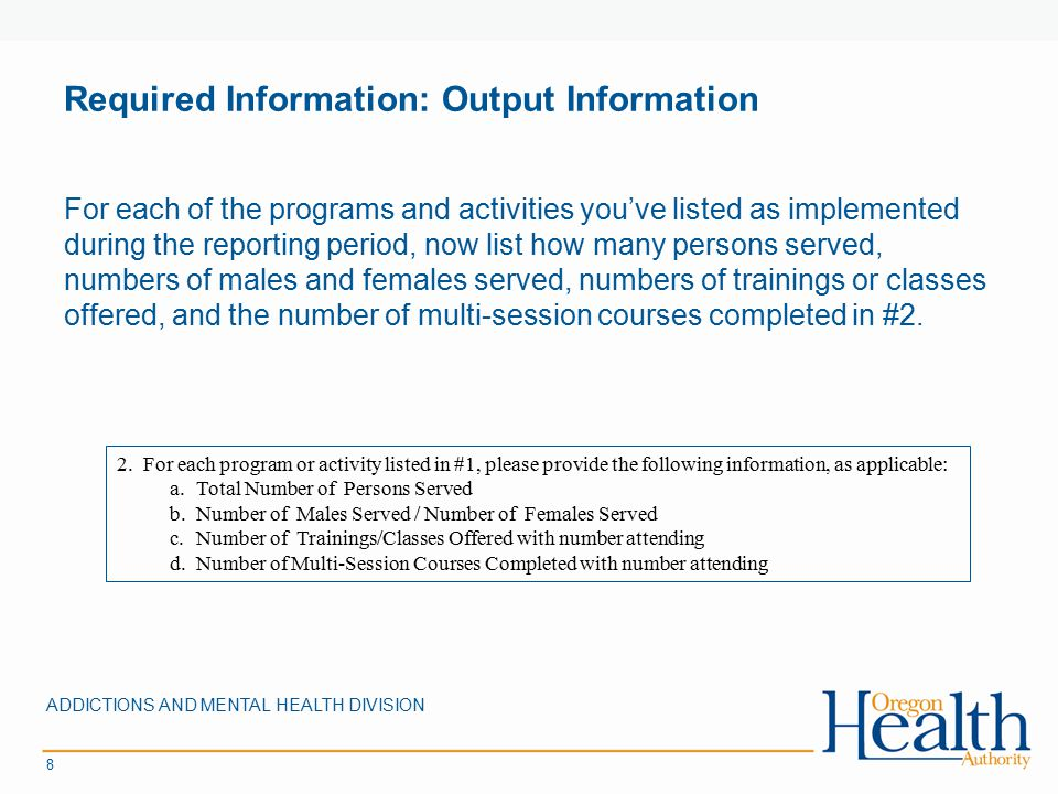Required Information: Output Information For each of the programs and activities you've listed as implemented during the reporting period, now list ho