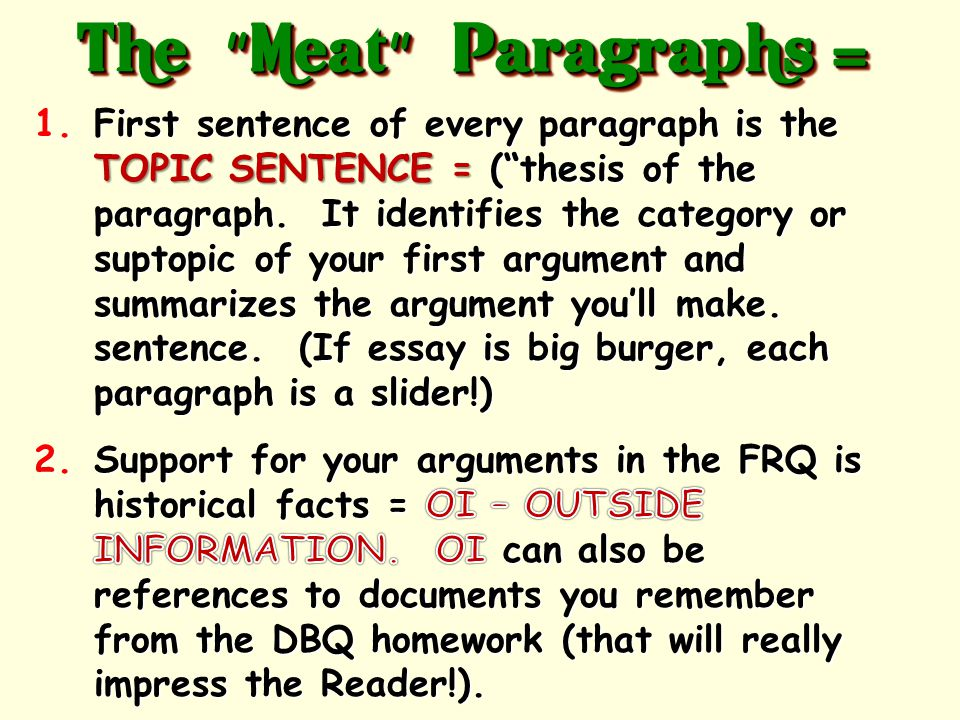 The tasty part of your essay. This is where you prove your thesis with facts.