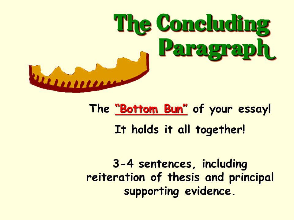 Meat Paragraphs 3.CONCLUDING SENTENCE – sums up paragraph.