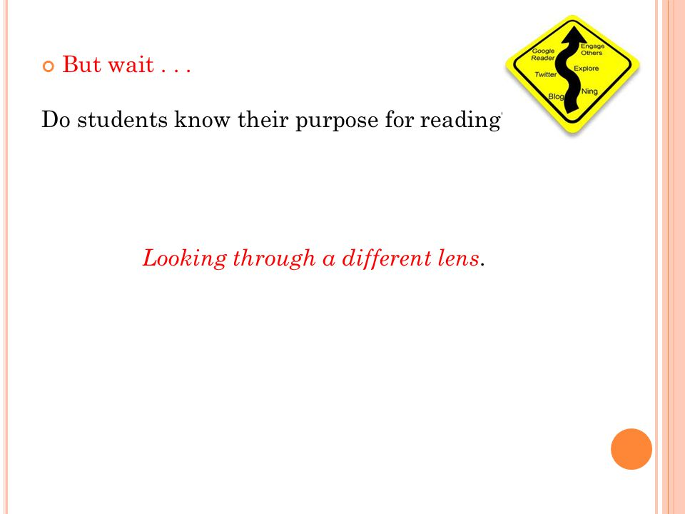 But wait... Do students know their purpose for reading Looking through a different lens.