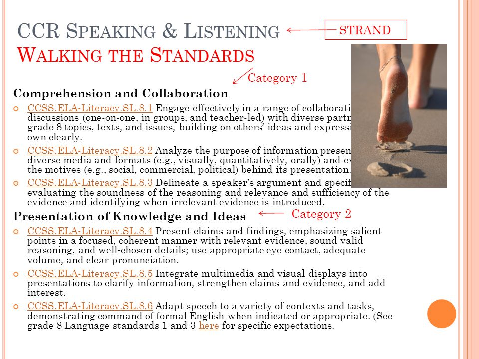CCR S PEAKING & L ISTENING W ALKING THE S TANDARDS Comprehension and Collaboration CCSS.ELA-Literacy.SL.8.1CCSS.ELA-Literacy.SL.8.1 Engage effectively in a range of collaborative discussions (one-on-one, in groups, and teacher-led) with diverse partners on grade 8 topics, texts, and issues, building on others' ideas and expressing their own clearly.