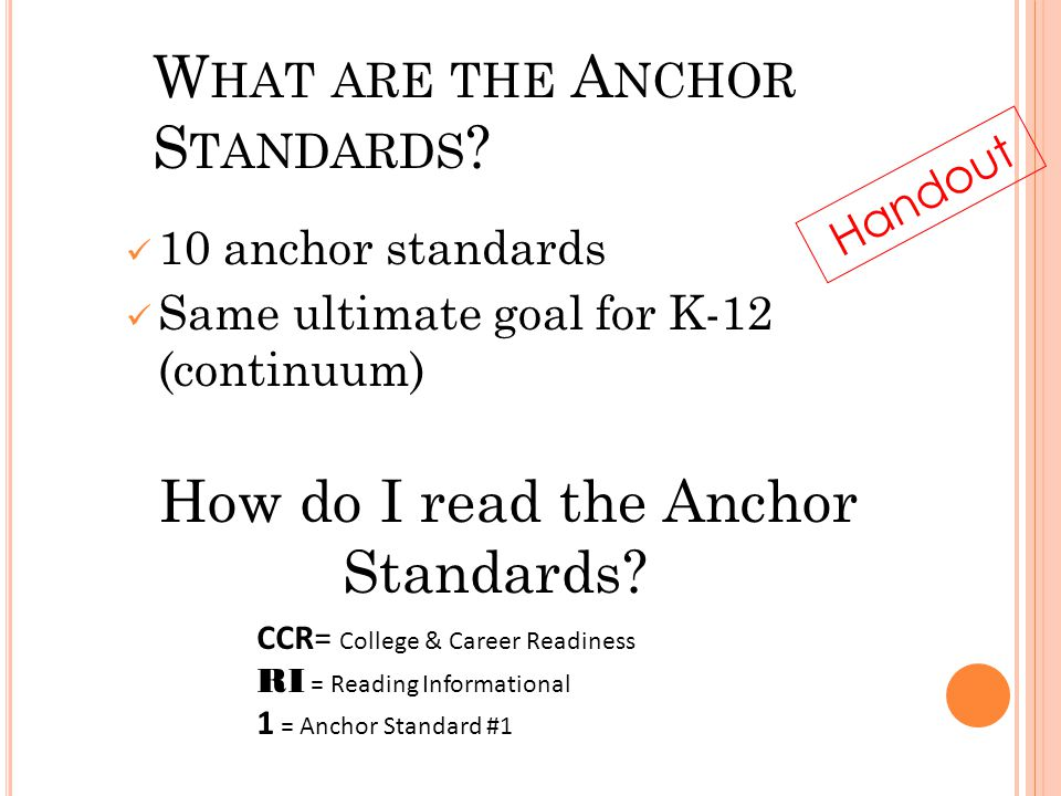 L ITERACY OR A NCHOR S TANDARDS W HAT ARE THE A NCHOR S TANDARDS .