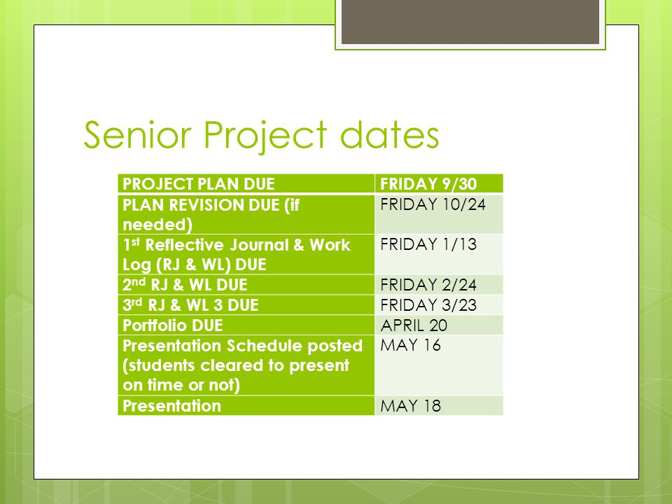 Senior Project dates PROJECT PLAN DUEFRIDAY 9/30 PLAN REVISION DUE (if needed) FRIDAY 10/24 1 st Reflective Journal & Work Log (RJ & WL) DUE FRIDAY 1/