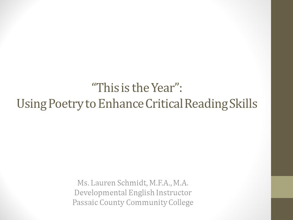 Program Abstract Using Martín Espada's poem, Imagine the Angels of Bread as its thematic inspiration—a poem that speaks to the social and political changes that can occur beginning with a courage to imagine those changes—this presentation will demonstrate how to use poetry as a tool to transition developmental readers from Literal Comprehension (Level I) to higher levels of reading, including Inferential (Level II) and Applied Comprehension (Level III).