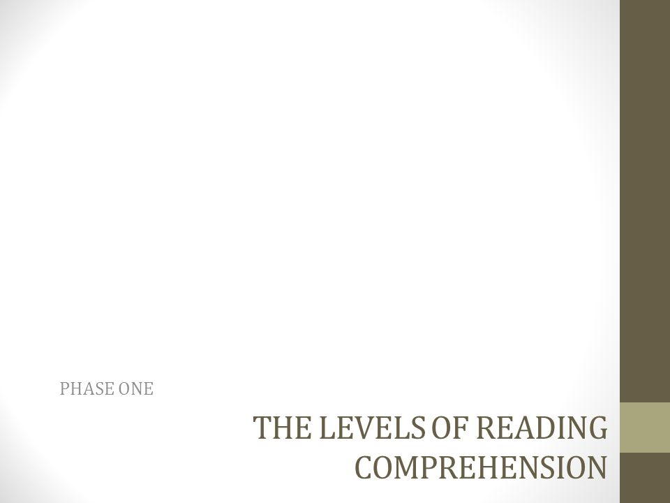 Level I: Literal Comprehension Literal Comprehension is, in short, what the text says.