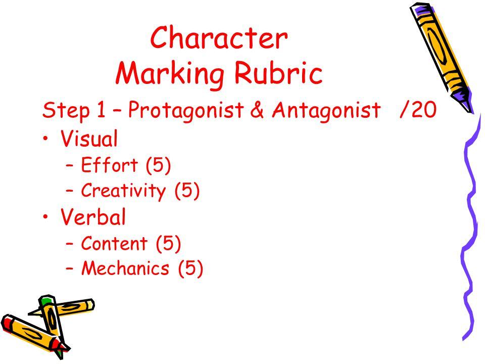 Character Marking Rubric Step 1 – Protagonist & Antagonist /20 Visual –Effort (5) –Creativity (5) Verbal –Content (5) –Mechanics (5)